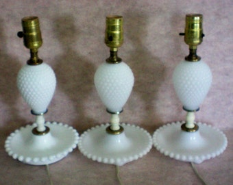 Hobnail Milk Glass Lamps – Set of Three - 3945