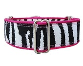 Zebra print! Adjustable martingale dog collar, greyhound, whippet, doberman, great dane, mastiff. Made to order!
