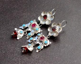 Ethnic earrings-Silver jewelry ethnic-Ethnic jewelry woman-Silver ethnic earring-Large bohemian earrings-Sterling silver ethnic jewelry