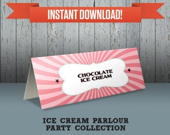 Ice Cream Parlour Party Printable Tent Cards / Place Cards / Food Labels - Editable PDF file - Print at home