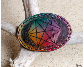 Rainbow sacred geometry leather belt buckle 1""