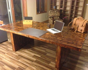 Reclaimed Wood conference Table - Table w/All Wood Legs and Endurovar Finish - FAST Shipping