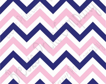 Navy blue, white and light pink chevron craft  vinyl sheet - HTV or Adhesive Vinyl -  large zig zag pattern   HTV5003