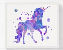 Unicorn Art Print, Watercolor Unicorn, Unicorn Painting, Nursery Wall Decor, Unicorn Poster, Baby Girl Nursery, Girls Room Decor, Purple