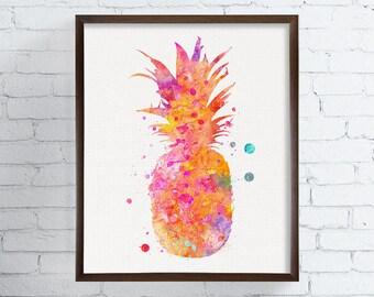 Pineapple Art Print, Watercolor Pineapple, Pineapple Painting, Kitchen Wall Art, Kitchen Wall Decor, Fruit Art Print, Watercolor Fruit