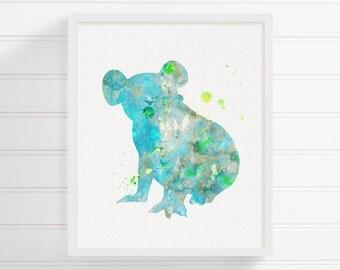 Koala Art, Koala Print, Watercolor Koala, Koala Painting, Koala Wall Decor, Nursery Wall Decor, Kids Room Decor, Australian Animals, Teal