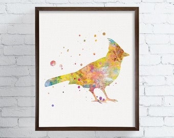Cardinal Bird, Cardinal Painting, Cardinal Art, Cardinal Print, Bird Wall Art, Bird Art Print, Watercolor Bird, Bird Illustration