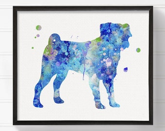 Watercolor Pug Painting, Pug Art Print, Pug Poster, Blue Pug, Dog Wall Art, Dog Lover Gift, Dog Art Print, Dog Poster, Kids Room Decor