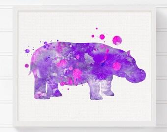 Hippo Art Print, Hippo Poster, Watercolor Hippo Painting, Kids Room Decor, Nursery Wall Decor, Baby Girl Nursery, Girls Room Decor, Purple