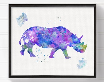 Rhino Art Print, Rhino Poster, Rhino Wall Decor, Rhino Wall Art, Watercolor Rhino, Watercolor Print, Animal, Rhinoceros Art, Archival Print