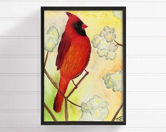 Cardinal Bird, Cardinal Art Print, Watercolor Cardinal, Cardinal Painting, Nursery Art Print, Bird Wall Art, Bird Wall Decor, Bird Poster