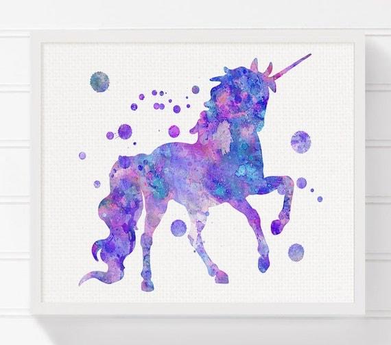 Unicorn Art Print Watercolor Unicorn Unicorn Painting