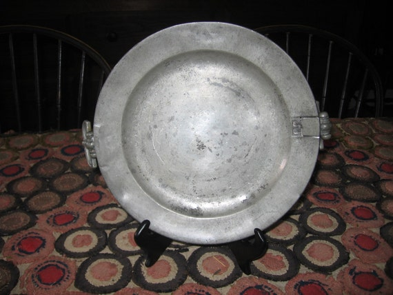 Fabric Plate Warmer ~ Early antique pewter warming plate th c english
