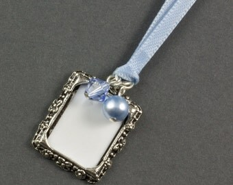 Wedding Bouquet Photo Frame Charm | Crystal and Pearl Wedding Photo Frame Charm | Memorial Photo Frame Charm | Something Blue Charm