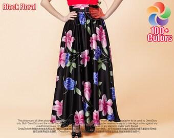 Black Floral Maxi Skirt with Pleated Waist Yoke - Black Maxi Skirt - Summer Skirt - Long Floral Skirt - Full Length Floral Skirt - SK15N206