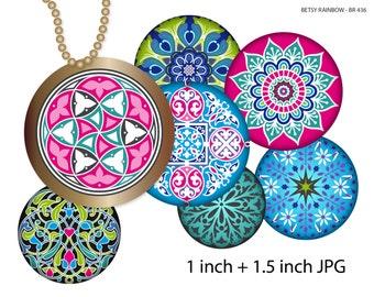 Mandalas bottle cap images, 1 inch circles, 1,5 inch, Digital Collage Sheet, Bottle caps Pendants Magnets Buttons, BR 436