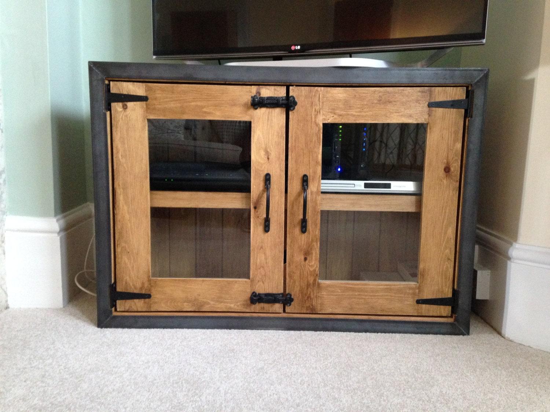rustic vintage industrial old wooden tv unit cabinet. Black Bedroom Furniture Sets. Home Design Ideas