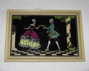 Vintage foil art picture framed man woman dancing Victorian 1930's antique