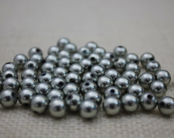 Vintage Matte Silver 6mm Round Beads (48 Pieces)