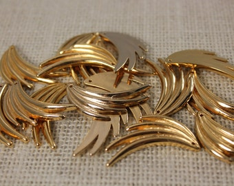 Vintage Gold Fan Detash Stampings (6 Pieces)