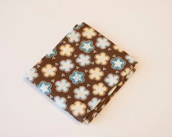 Brown with Blue and Yellow Flower Fabric - Fat Quarter - Destash