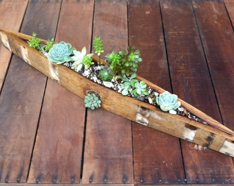 Wine Barrel Canoe Planter Box from Recycled Wood