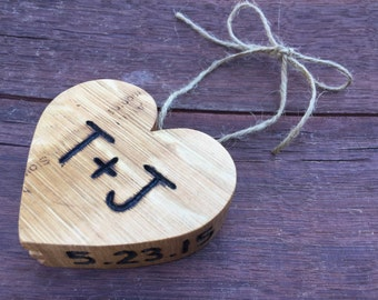 Personalized Wood Heart | Custom Engraved Hanging Heart | Valentines Day Gift | Handmade From Recycled Wine Barrel Wood