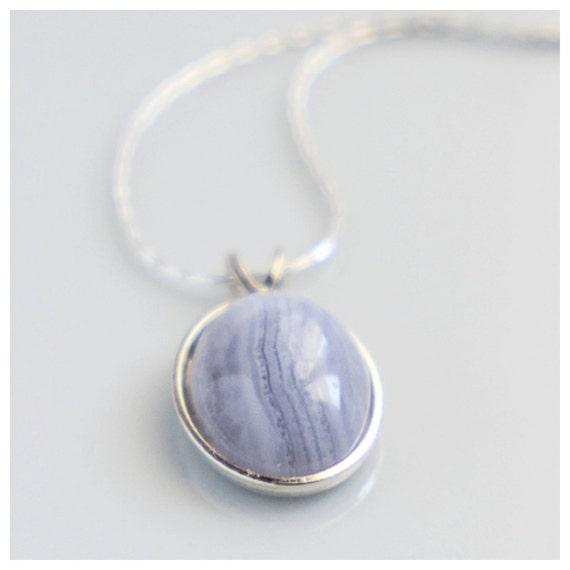 blue lace agate pendant necklace blue lace by