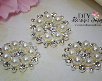 Pearl buttons flatbacks Pearl Rhinestone buttons Crystal Buttons Big Pearl flower centers Bridal accessories 3pcs 26mm 893068