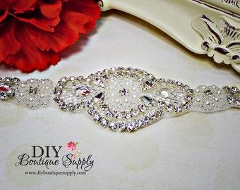 Sweet Pearl and Rhinestone applique - Flower girl rhinestone Headband Applique DIY  bridal wedding garter applique Pearl applique  947355
