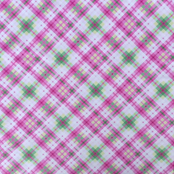 Pink and Green Plaid Fabric by Timeless by OmasFabricAndGifts
