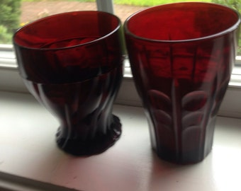 2 Ruby Red Cranberry Glasses Vintage 1930s