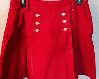Vintage nautical skort, red 70s skirt, Lady Gator tennis shorts, sailor skort