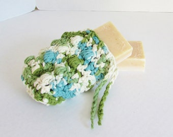Soap Holder, Massaging Soap Pouch, Soap Sack, Crochet Soap Saver, Spa Soap Cozy, Spa Bath Scrubbie, Shower Accessory, blue green and white