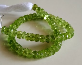 5 mm Natural Sparkly Peridot Faceted Rondelle full 7 inch strand-AAA+