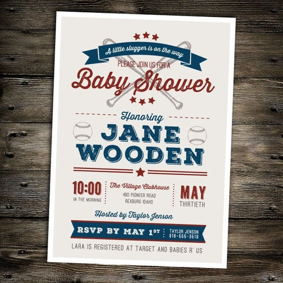 Vintage Baseball Baby Shower Invitation You Print Boy