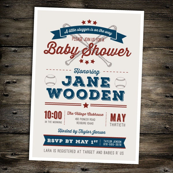 vintage baseball baby shower invitation by littlemissmaedesigns
