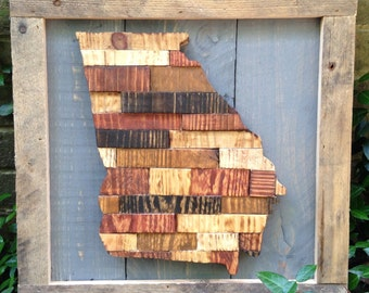Wood State Art, Wood Sign, Reclaimed Wood State Art