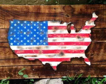 Wood Sign, Distressed, Rustic Reclaimed Wood United States American Flag