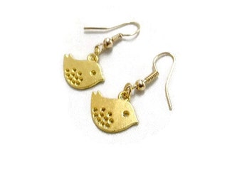 Sweet Gold Bird Dangle Earrings, Bird Earrings, Gold Earrings, Gift, Girls Gift, Bird Jewellery, Bird Jewelry, Small Bird Earrings,
