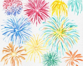 Watercolor Fireworks Clipart, Fourth of July Clip Art, Fireworks Illustration, July 4th Party Graphics, Fireworks Clip Art, Independence Day