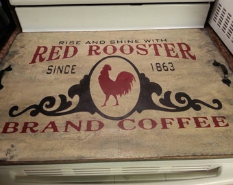Primitive Red Rooster brand coffee stove board - hand painted
