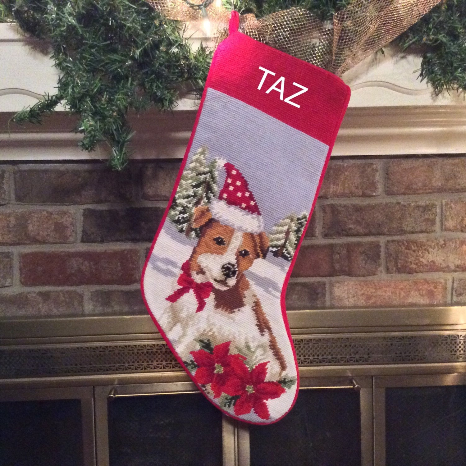 Jack russell dog stocking personalized christmas stockings for Personalized dog christmas stocking