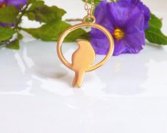 Copper birds Necklace, Gold Bird Necklace, Dainty Bird Necklace, Copper birds Necklace, Gold bird jewelry, Gold Animal Necklace.