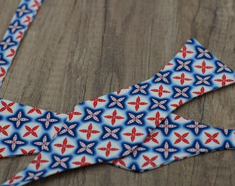 Handmade bow tie blue geometric self tie freestyle classic pattern colorful cotton bowtie