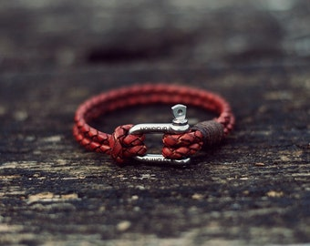 Handmade Braided Leather Bracelet/Armband Mens/Womens Vintage Red Brown