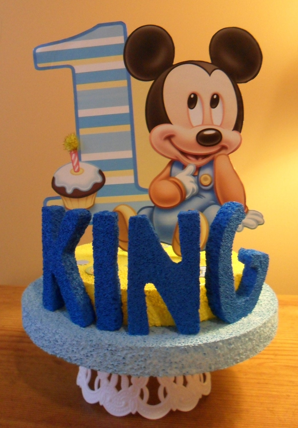 Cake Toppers Baby Mickey : Baby Mickey 1st / First/ One Birthday Cake Topper Personalized