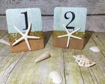 Blue and Gold Starfish Table Numbers, Starfish Wedding Table Numbers, Beach Wedding Table Numbers, Nautical Wedding Table Numbers