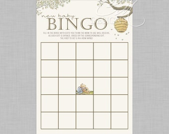 Classic Winnie The Pooh Baby Shower Bingo INSTANT DOWNLOAD