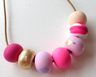 Polymer clay necklace, Pretty in pink